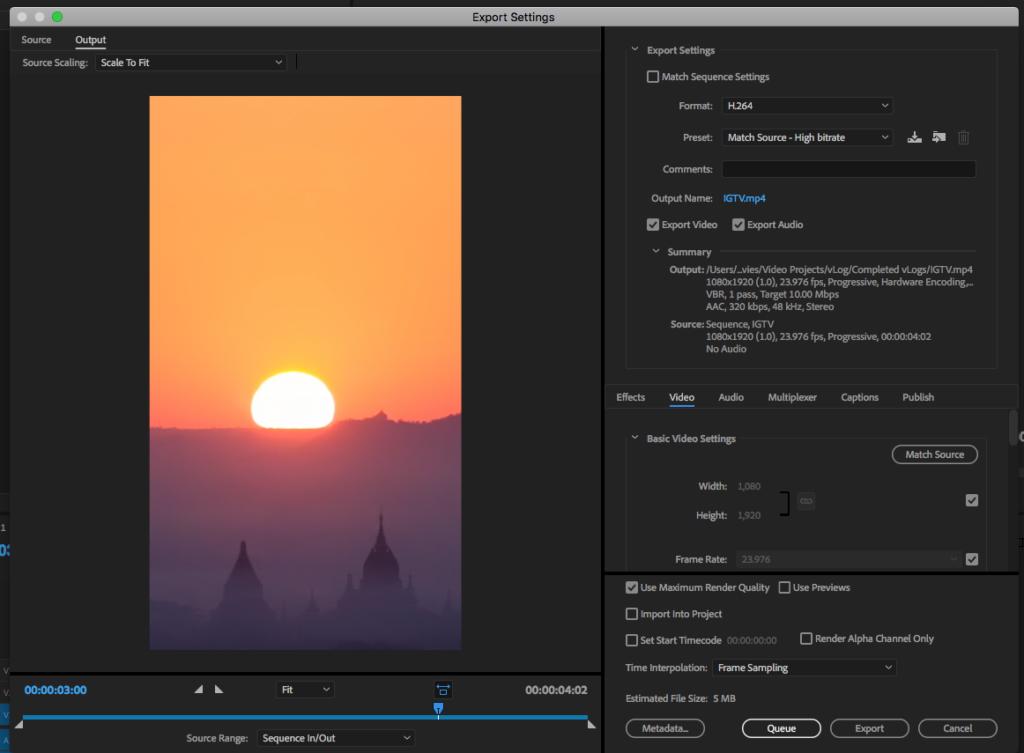 Download FREE IGTV Preset in Adobe Premiere